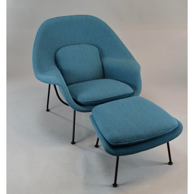 Blue Womb Chair and Ottoman in Cato Blue Knoll Fabric For Sale - Image 8 of 8