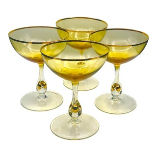 1950s Golden Zuzana Amber & Gold Crystal Champagne Coupes by Jozef Stanik - Set of 4 For Sale