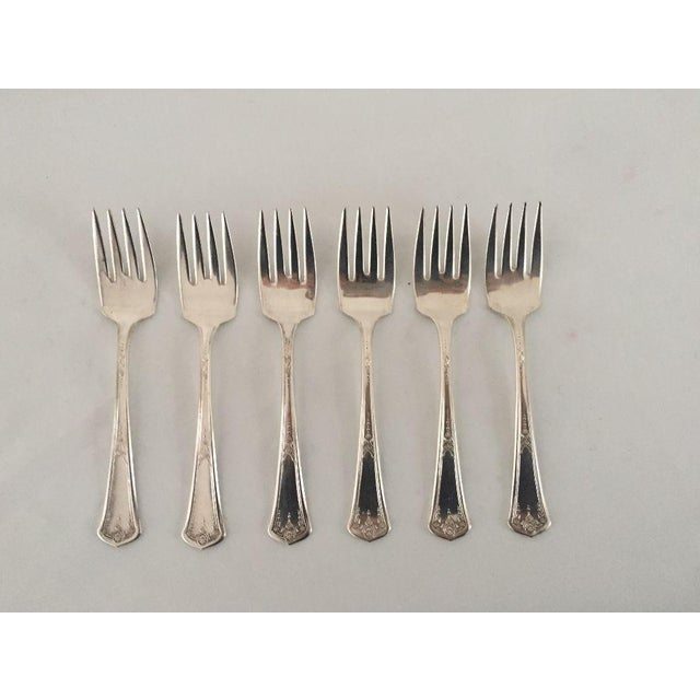 Vintage French Style Silver Plate Dessert Forks - Set of 6 For Sale - Image 5 of 5