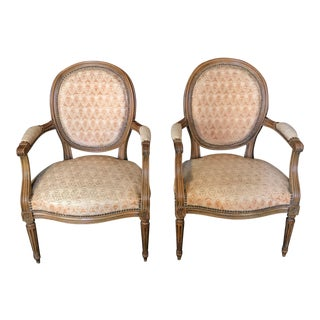 Early 20th Century Walnut Louis XVI Style Armchairs or Fauteuils - a Pair For Sale