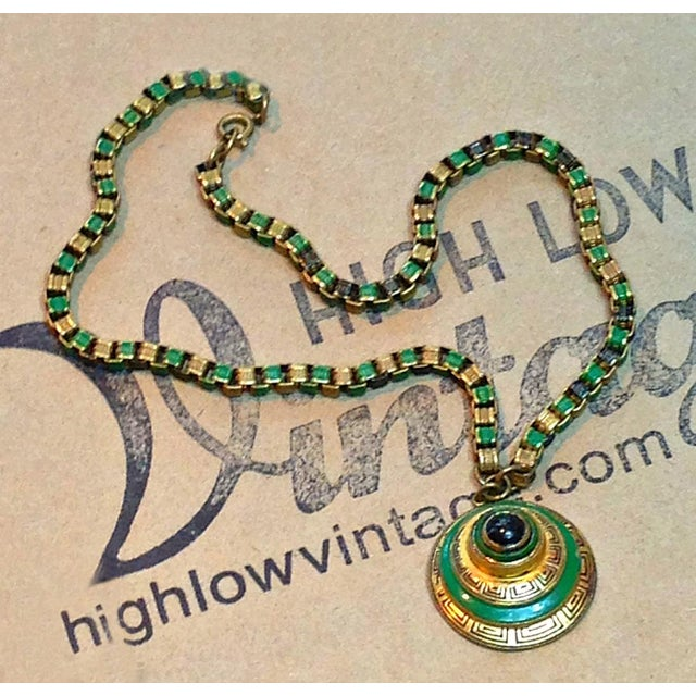 1920s Vintage Art Deco Green & Gold Enamel Necklace Pendant For Sale In Los Angeles - Image 6 of 6