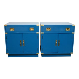 1970s Campaign Drexel Nightstands ~ a Pair For Sale
