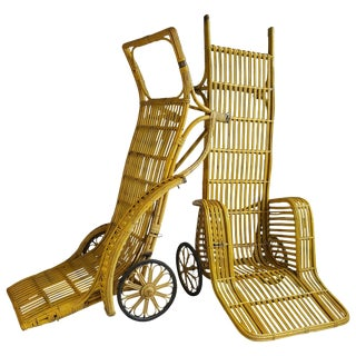 """Rickshaw"" Split Reed Stick Wicker Chaise Lounge Chairs - A Pair For Sale"