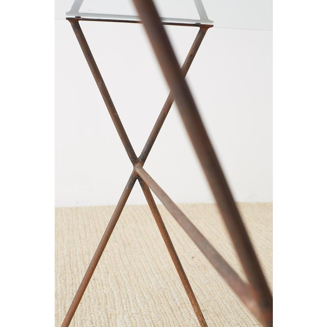 Midcentury Glass Table With Iron X Form Sawhorse Legs For Sale - Image 10 of 13