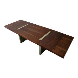 Mid Century Walnut & Brushed Brass Extension Dining Table by Milo Baughman For Sale