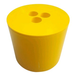 Vintage 1972 Mid-Century Modern Habitat Yellow Melamine Plastic Ice Bucket With Lid For Sale