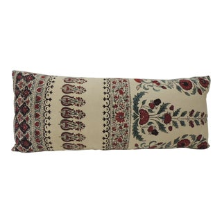 19th Century Indian Qalamkar Floral Decorative Bolster Pillow For Sale