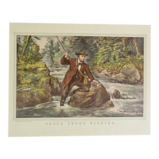 1950s Vintage Brook Trout Fishing Currier & Ives Print For Sale