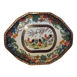 Vintage English Metal Serving Tray With Roosters For Sale
