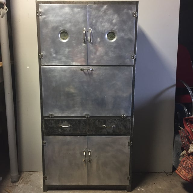 Vintage 1920's Industrial Metal Cabinet - Image 2 of 10