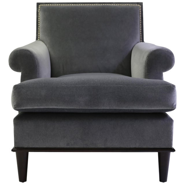 Club Chair With Nail Trimmed Square Back With Scroll Arms and Loose Seat Cushion For Sale