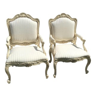 1960s Vintage Carved Shell Italian Rococo Bergere Chairs- A Pair For Sale