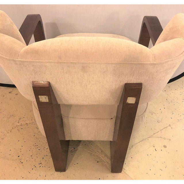 Pair of Modern Art Deco Rosewood Club Bergère or Lounge Chairs For Sale - Image 4 of 13