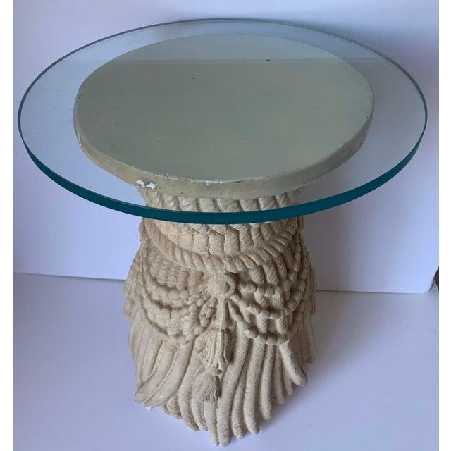 1970s Hollywood Regency Plaster Tassel Motif Glass Top Side Table For Sale - Image 4 of 7