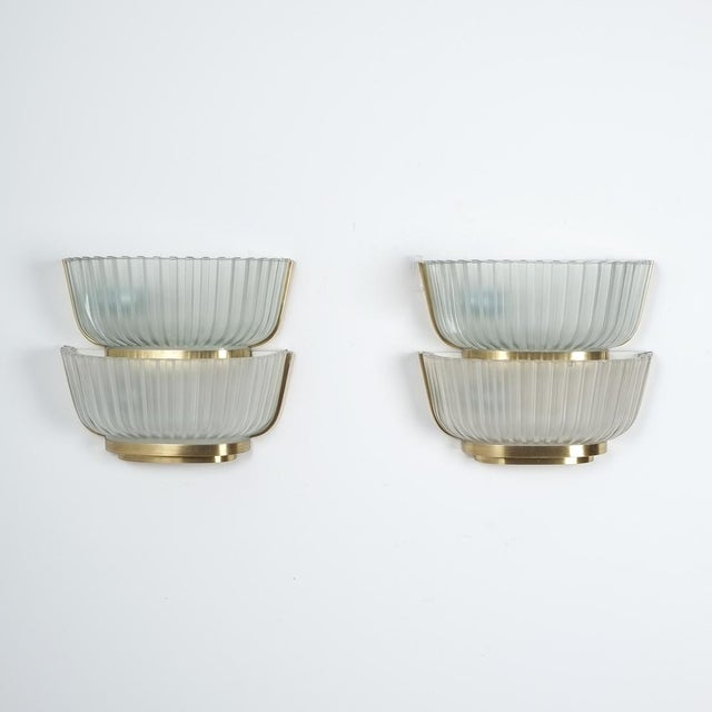 Pair of Late Art Deco Glass and Brass Sconces Refurbished, Italy, Circa 1940 For Sale - Image 6 of 12