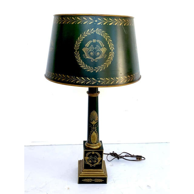 Empire Style Tole Lamps - a Pair For Sale - Image 9 of 11