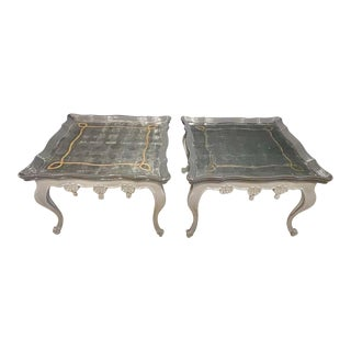 Pair of John Richards Painted Eglomise Mirrored Top Coffee Table Cocktail Table For Sale