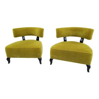 Milo Baughman Mohair Clipper Lounge Chairs - a Pair