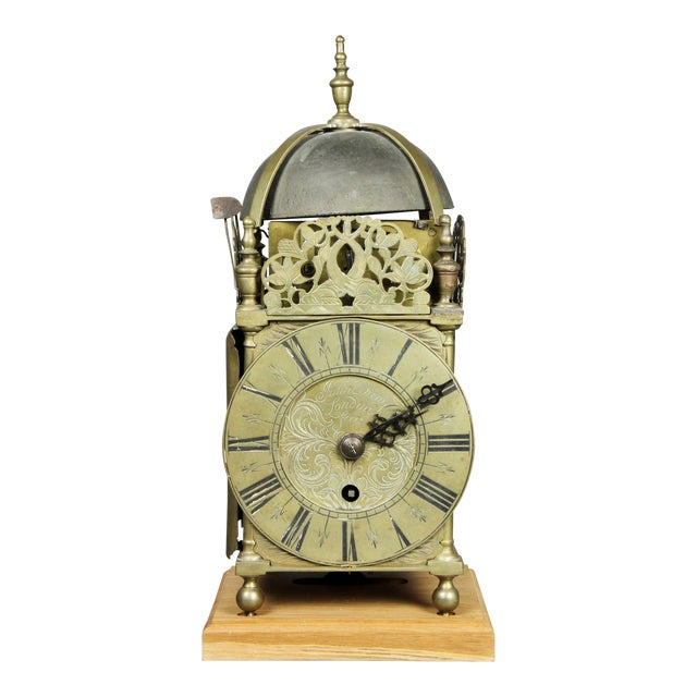 William and Mary Brass Lantern Clock by John Drew, London For Sale