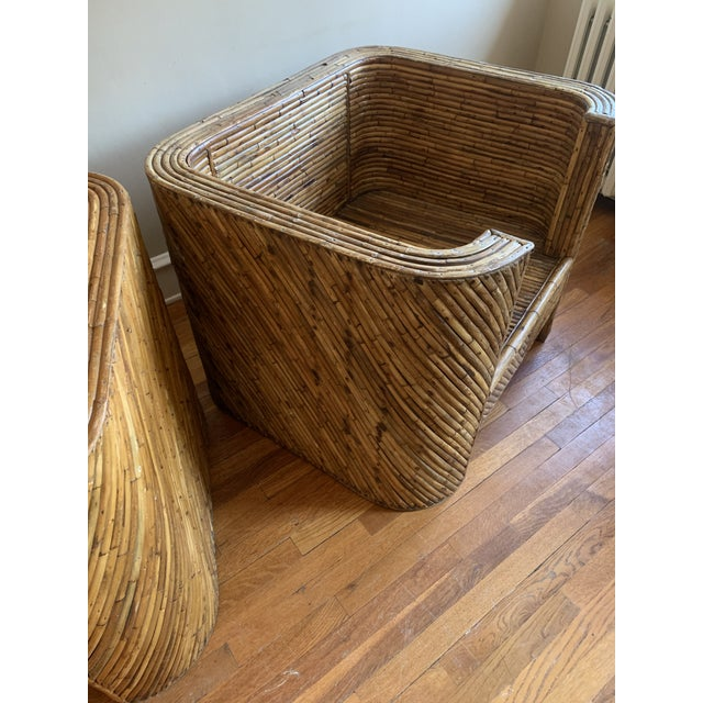 Vintage Bamboo Club Chairs - a Pair For Sale - Image 4 of 10