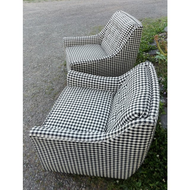 Gray Kroehler Mid-Century Houndstooth Chairs - A Pair For Sale - Image 8 of 11