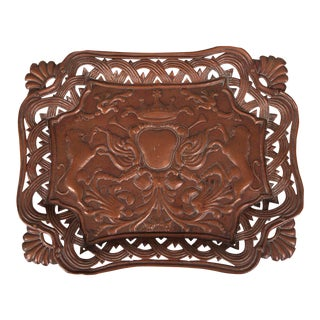 Antique French Copper Tray with Heraldic Lions circa 1890