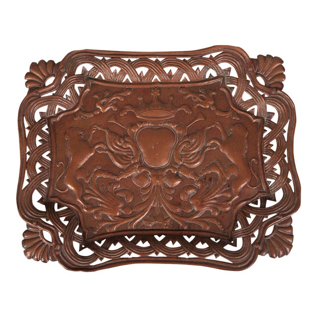 Antique French Copper Tray with Heraldic Lions circa 1890 For Sale