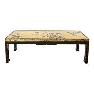 Vintage Mid Century Japanese Gold Leaf Cherry Blossom Coffee Table For Sale