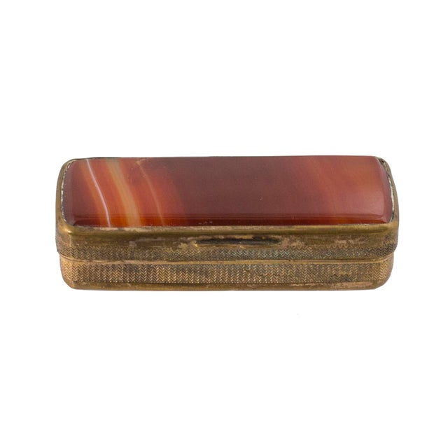 Mid-Century Modern Late 19th Century Vintage Victorian Brass & Agate Matchsafe For Sale - Image 3 of 3