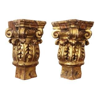 18th Century Baroque Gold Leaf Corinthian Capitals-a Pair For Sale