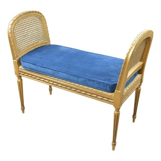 Antique Giltwood Caned Seat Raised Sides Bench Blue Velvet Cushion For Sale