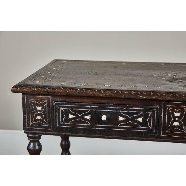 Brown 19th C. Inlaid Peruvian Table With Drawers For Sale - Image 8 of 11