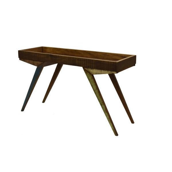 Reclaimed Wood Mirrored Tray Table For Sale In Los Angeles - Image 6 of 9