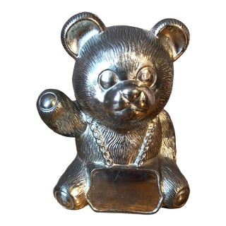 Vintage Silver Plated Teddy Bear Bank For Sale