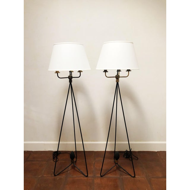 Pair of Early Gerald Thurston Iron Floor Lamps For Sale - Image 9 of 9