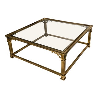 Brass & Glass Chippendale Style Coffee Table Att. Mastercraft For Sale