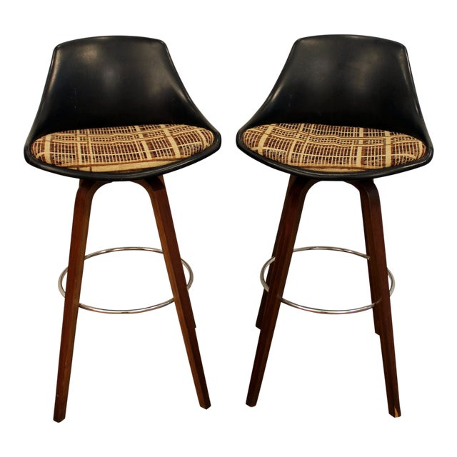 Mid-Century Chrome & Walnut Swivel Bar Stools - A Pair - Image 1 of 11