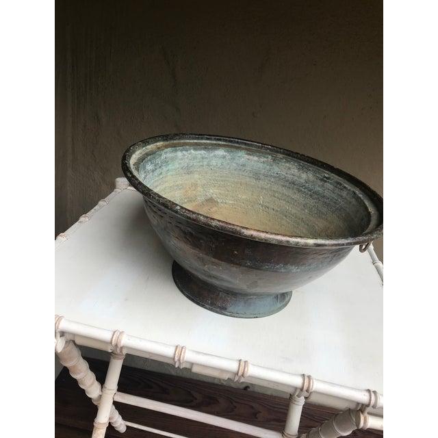 Large Handmade Copper Pedestal Bowl For Sale - Image 4 of 7