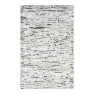 Velma, Contemporary Modern Hand Loom Area Rug, Silver , 8 X 10 For Sale