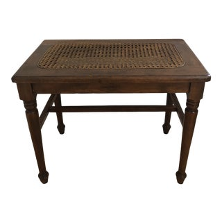 Vintage Caned Side Table or Bench For Sale