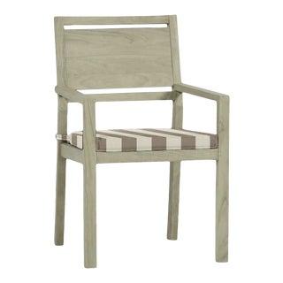 Summer Classics Avondale Teak Arm Chair in Westin Pebble For Sale