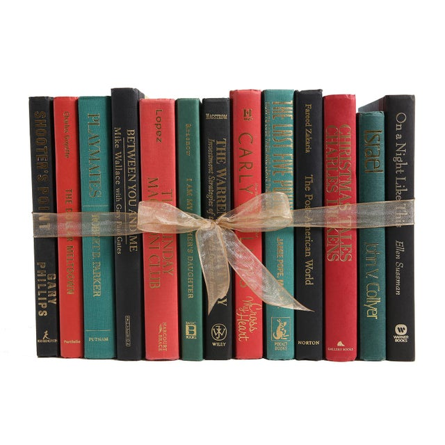 Modern Christmas Vibe Colorpak : Decorative Books in Shades of Red and Green For Sale - Image 3 of 3