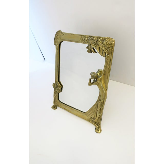 Brass Vanity Mirror in the Art Nouveau Style For Sale - Image 4 of 12