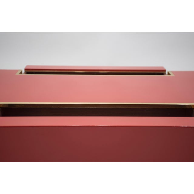 Rare j.c. Mahey Red Lacquer and Brass Coffee Table, 1970s For Sale - Image 12 of 13