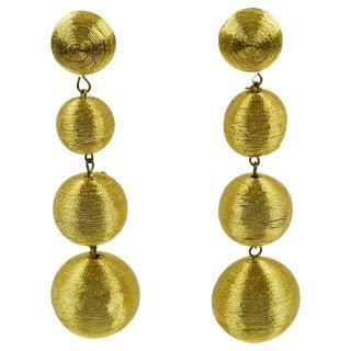 1980s Disco Time Oversized Dangling Gold Metallic Thread Pierced Earrings For Sale