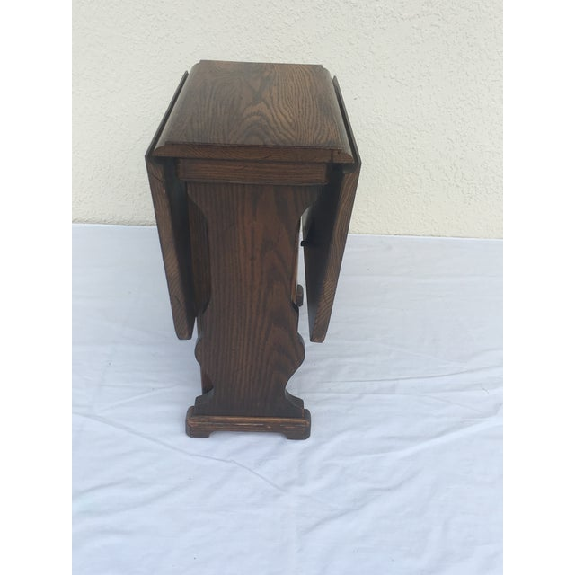Small Petite Mini Vintage Mid-Century Wood Drop Leaf Side Table For Sale In Tampa - Image 6 of 13