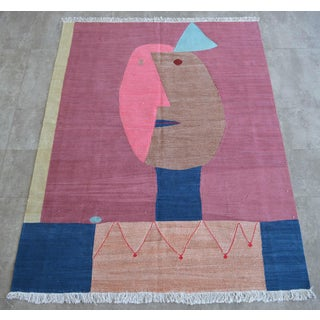Paul Klee - Clown - Inspired Silk Hand Woven Area - Wall Rug 4′4″ × 5′10″ Preview