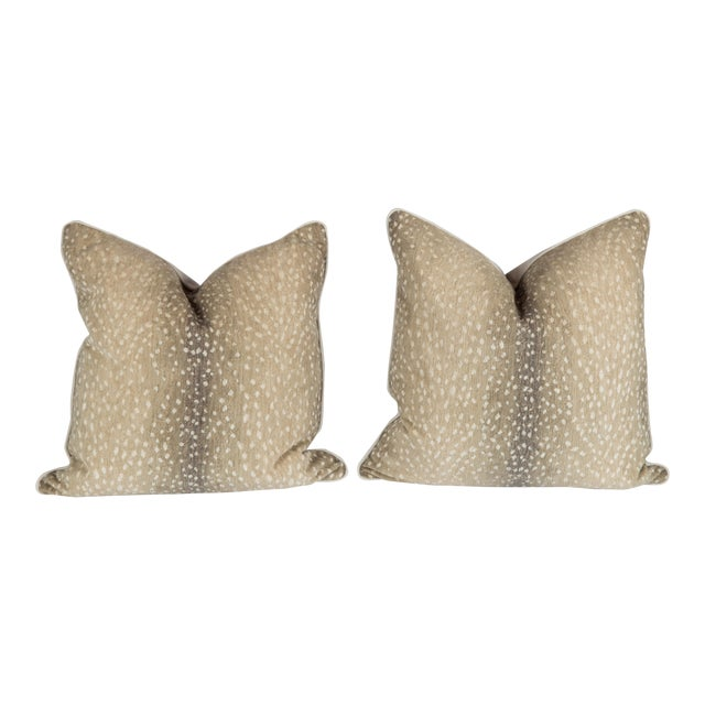 Stone Chenille & Linen Antelope Pillows - a Pair For Sale