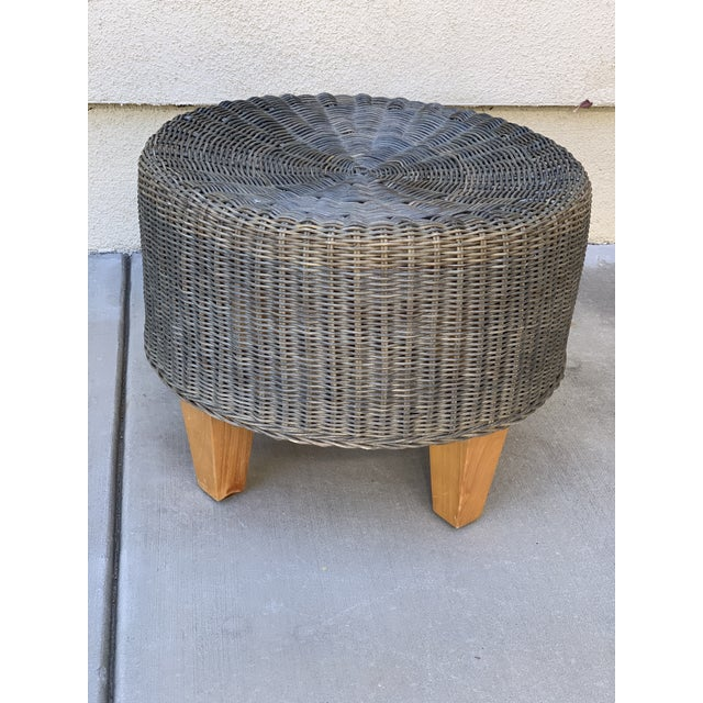 Boho Chic Rustic Wicker Wood Ottoman Footstool For Sale - Image 3 of 10