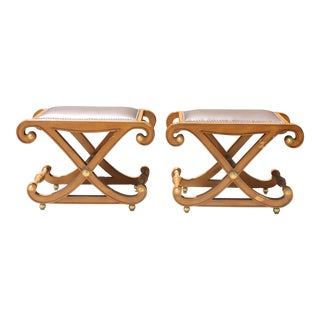 Hollywood Regency Pair of Stools